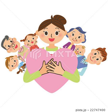 幸せ家族とハート 22747400