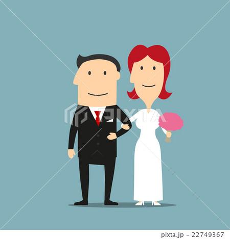 Just married cartoon bride and groom  22749367