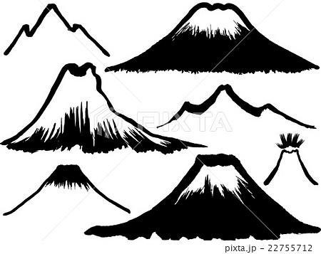 山 墨 毛筆イラストのイラスト素材 22755712 Pixta