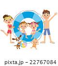 夏休み 家族 浮き輪のイラスト 22767084