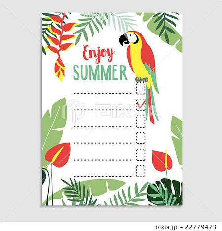 summer jungle greeting card invitation wish listのイラスト素材