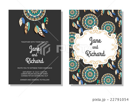 Wedding invitation, save the date cards. Vectorのイラスト素材 [22791054] - PIXTA