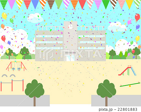 紙吹雪 校舎 旗 風船のイラスト素材 [22801883] - PIXTA