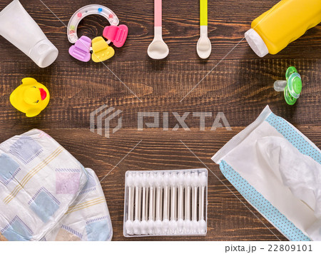 Baby essentials on wooden table with copy spaceの写真素材 [22809101] - PIXTA