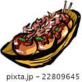 縁日、お祭りの食べ物の筆描きイラスト(カラー) 22809645