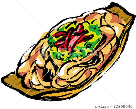 縁日、お祭りの食べ物の筆描きイラスト(カラー) 22809646