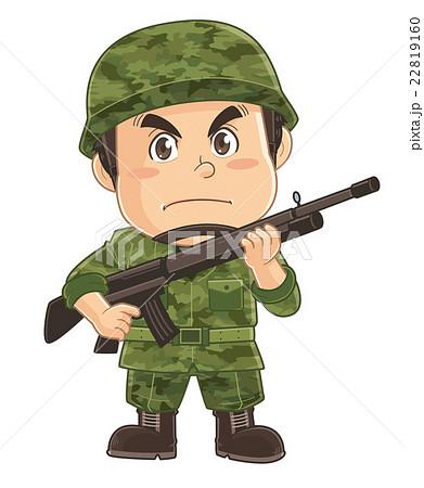 ライフルを構える陸上自衛隊のコミカルでかわいい人物イラスト|いわたまさよし 22819160