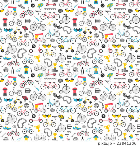 Bicycle seamless pattern. Colour flat design 22841206