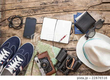 Set of accessories for travel on wooden backgroundの写真素材 [22876516] - PIXTA