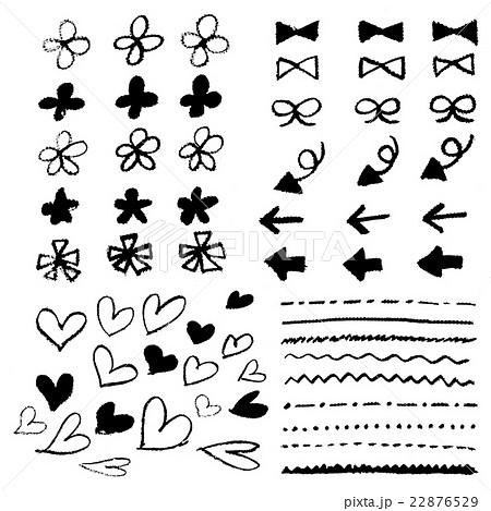 手書き チョークとクレヨンの素材 花 ハート 矢印 リボン 線 黒線