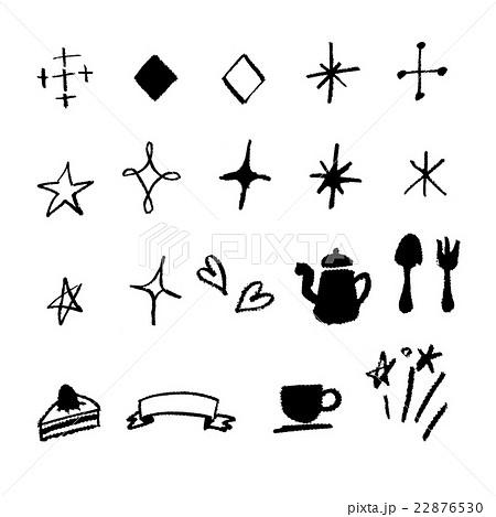手書き チョークとクレヨンの素材 黒線キラキラのイラスト素材 22876530