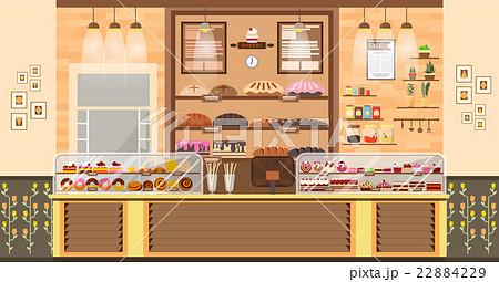Illustration Interior Of Bake Shop Bake Saleのイラスト素材