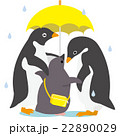 アデリーペンギン 送り迎え 傘のイラスト 22890029