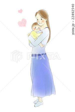 赤ちゃんを抱っこするお母さん全身のイラスト素材 22892540 Pixta