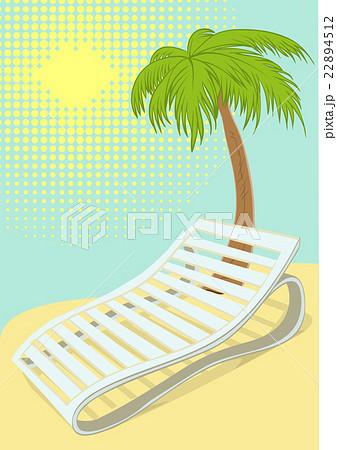 Sunbed under palm tree on tropical beachのイラスト素材 [22894512] - PIXTA