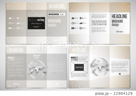 set of tri fold brochure design template on bothのイラスト素材