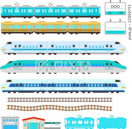 かわいい電車と新幹線のイラストセット 22909755