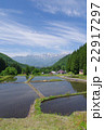 信州 白馬村 青鬼(あおに)集落の春 伝統的建造物群保存地区 棚田のある山間の小集落 22917297