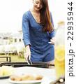 人物 女性 バーベキューの写真 22935944