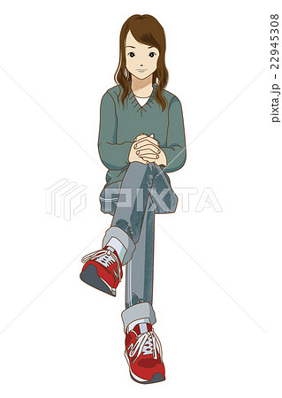 ファッション 赤いスニーカーの女性のイラスト素材 [22945308