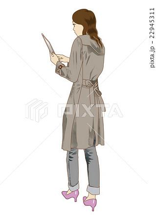 ファッション 後ろ姿のトレンチを着た女性のイラスト素材