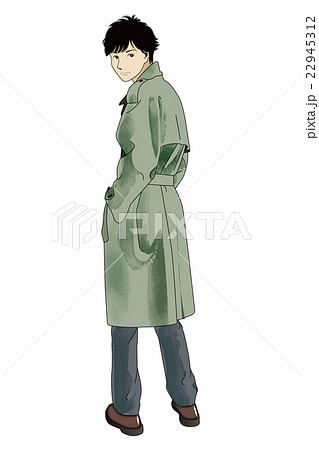 メンズファッション 後ろ姿のトレンチを着た男子のイラスト素材
