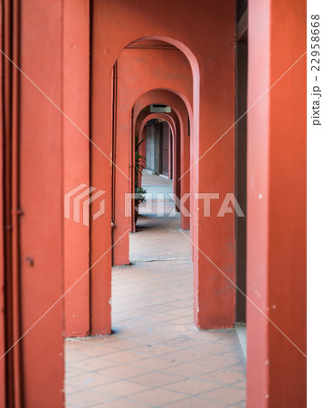 Footpath with red pole of old city at Malacca 22958668