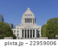 国会議事堂 快晴 青空雲 春 新緑 22959006