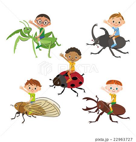昆虫に乗った子供のイラスト素材 22963727 Pixta