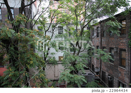 ニューヨークにある古いアパートの中庭 22964434