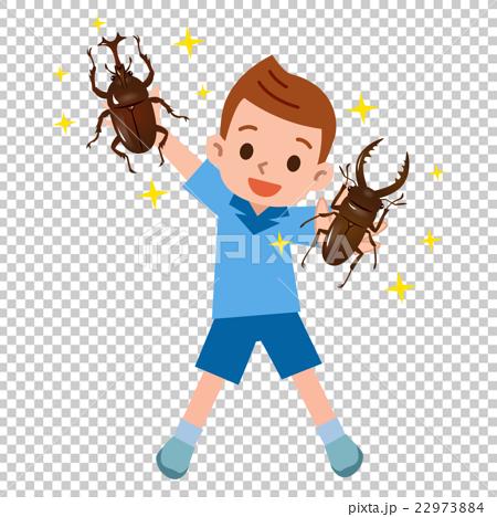 一個很高興贏得甲蟲和雄鹿甲蟲的男孩 22973884