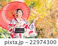 女性 着物 紅葉の写真 22974300