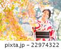 女性 着物 紅葉の写真 22974322