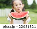 スイカを食べる女の子 22981321