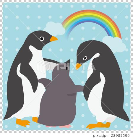 アデリーペンギン 家族 虹 22983596