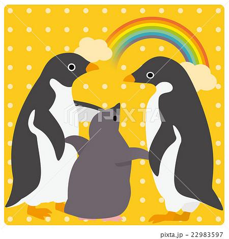 アデリーペンギン 家族 虹 22983597