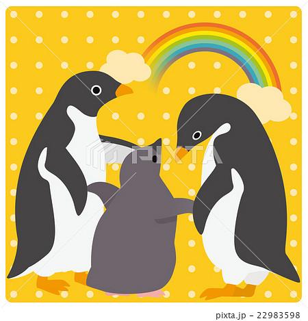 アデリーペンギン 家族 虹 22983598