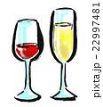 筆描き 飲み物 ワイン 22997481