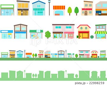 商店街のいろいろなお店のイラストセット 22998259