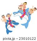 イルカに乗る三世代家族 23010122