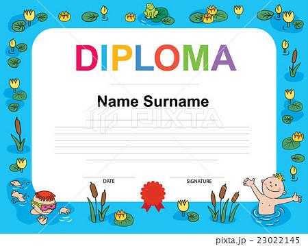 swimming award certificate template illustrationのイラスト素材