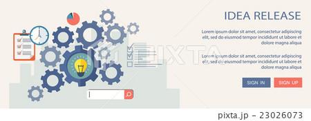 Idea release flat illustration with iconsのイラスト素材 [23026073] - PIXTA