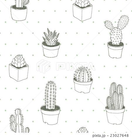 Cactus Polka Dot Vector Seamless Pattern Hand Drawのイラスト素材 [23027648] - PIXTA