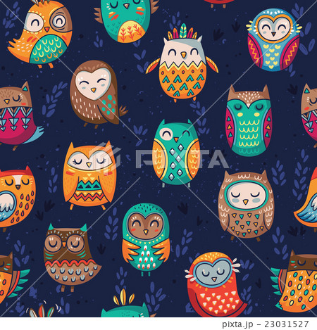 Seamless pattern with tribal owlsのイラスト素材 [23031527] - PIXTA