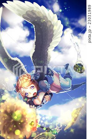 空飛ぶメイドのイラスト素材 23031989 Pixta