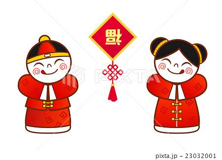 中国の伝統衣装を着た男女と装飾のイラスト素材 23032001 Pixta