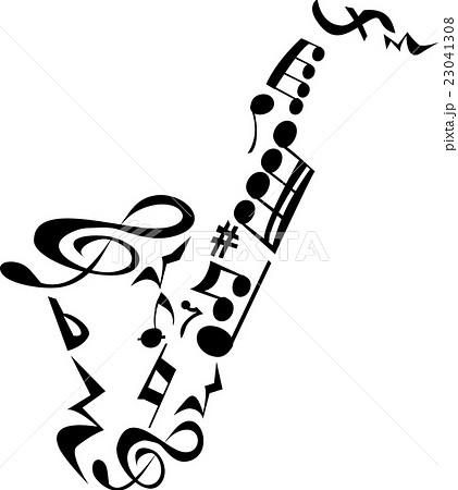 サックス 音符のイラスト素材