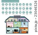 省エネスマートホームのインフォグラフィック。テキスト付き。 23046326