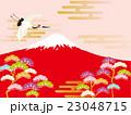 鶴 富士山 赤富士のイラスト 23048715