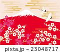 鶴 富士山 赤富士のイラスト 23048717